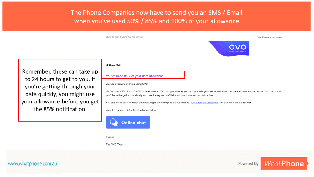 Your phone company will send you an SMS (and, as here, if you request it, an email) when you have used 50%, 85% and 100% of your data allowance. However, remember, these messages can take up to 24 hours to get to you – so if you're burning through your data quickly, you might have used it all before the notification gets to you.