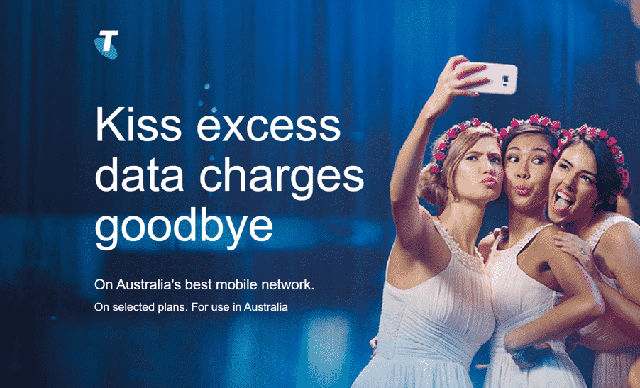Telstra's 'Kiss goodbye to extra data charges' is an innovative approach to keeping customers happy.