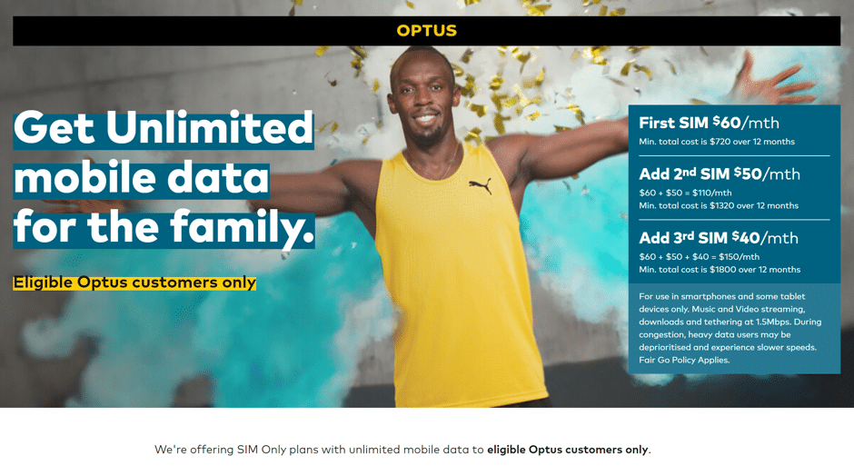Optus Unlimited data plan