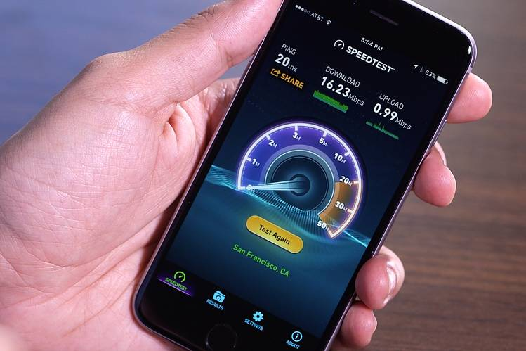 Internet speed test on mobiles.