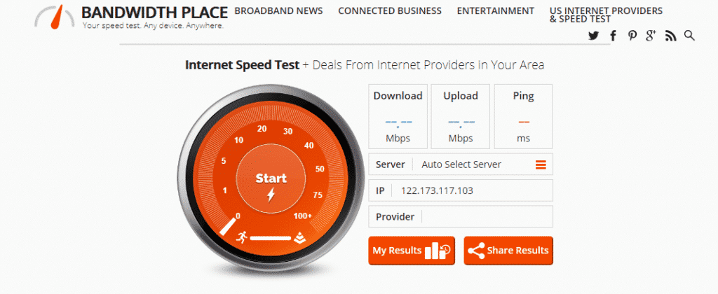 Test internet connection speed with Bandwidth Place