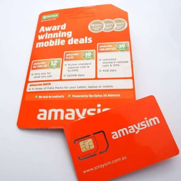 Amaysim, An MVNO Service Provider packaged sim.