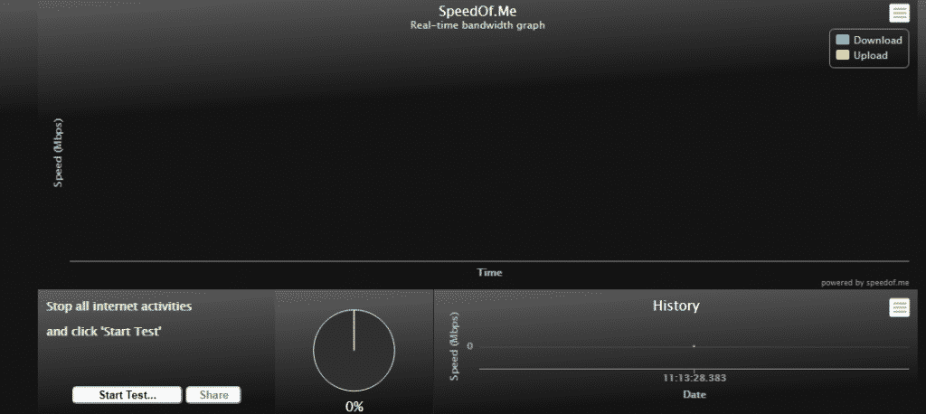 Test internet connection speed with SpeedOf.me