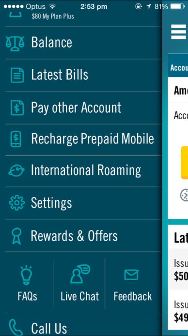 The Recharge option is available on the My Optus app, where you can then find the AutoRecharge feaature.