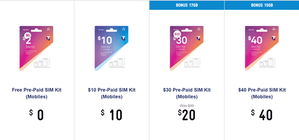 Telstra SIM pre-paid kits