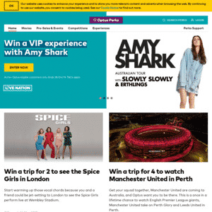 The Optus perks official website.