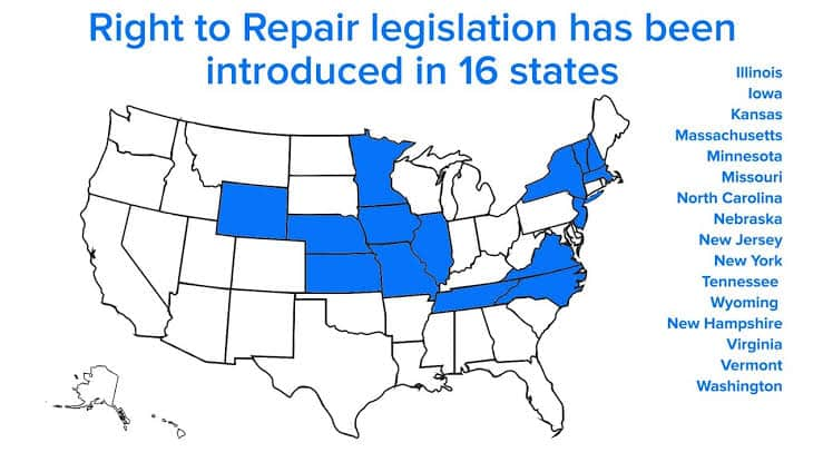 U.S. pending right to repair legislation