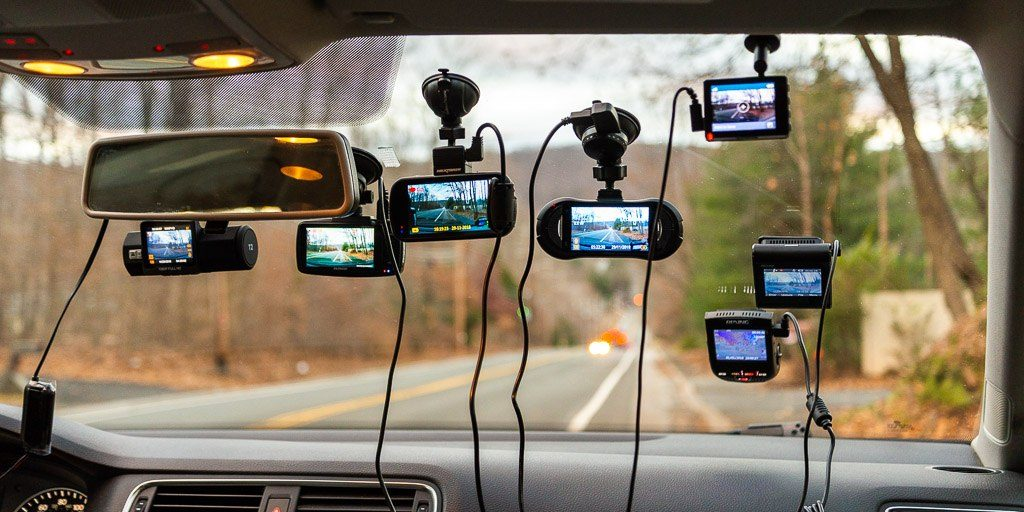 An Assortment of Dashboard Cameras Attached to the Vehicle Windscreen
