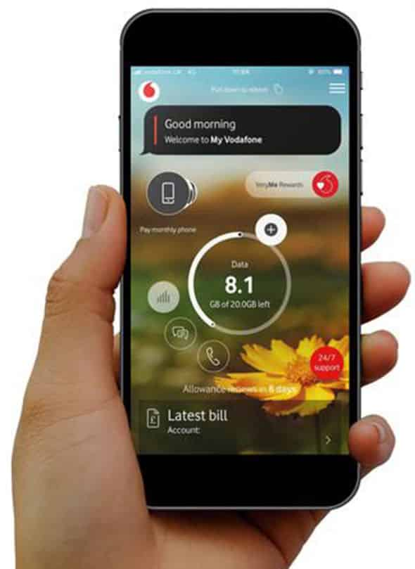Vodafone mobile application.