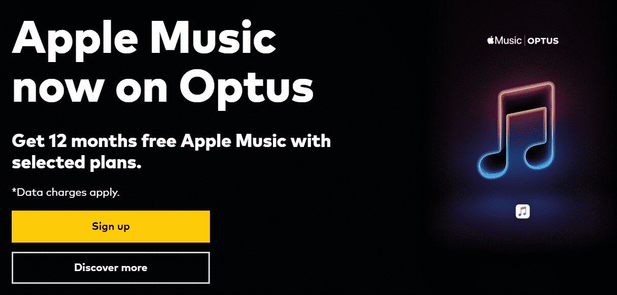 Optus new Apple Music free trial offer.