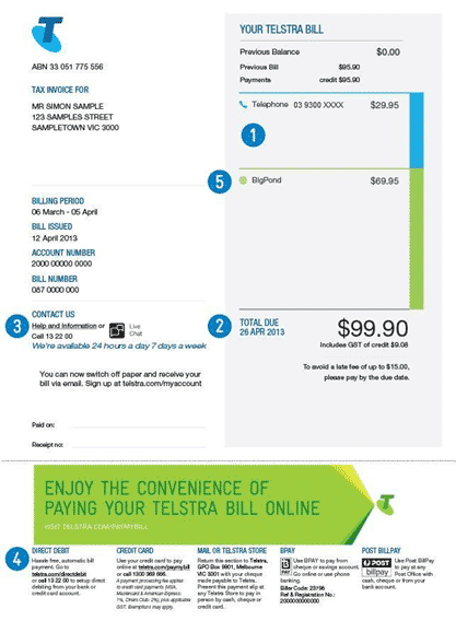 A Telstra bill.