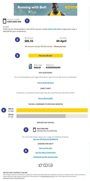 A sample of a phone bill as issued by Optus to a subscriber.