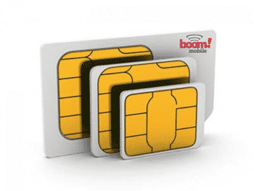 Three sizes of traditional SIM cards.