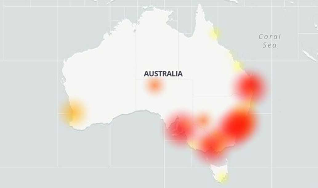 Downdetector's map showed Telstra outage areas on Tuesday.