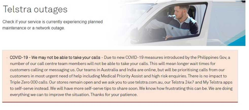 Reduction in Telstra's customer care staff