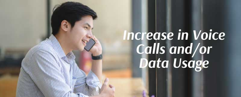 Increase in Voice Calls and/or Data Usage